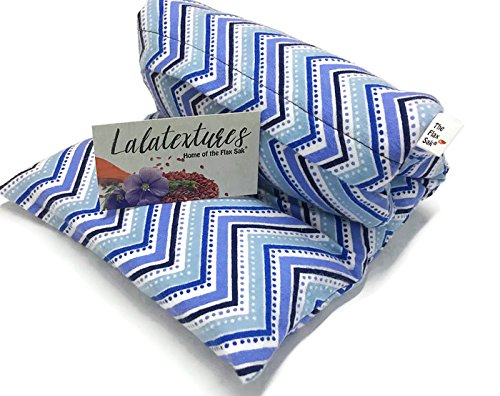 Large-Unscented-Microwave-Heating-Pad-The-Flax-Sak-HotCold-Pack-With-Washable-Cover-Natural-pain-relief-Blue-Chevron-0