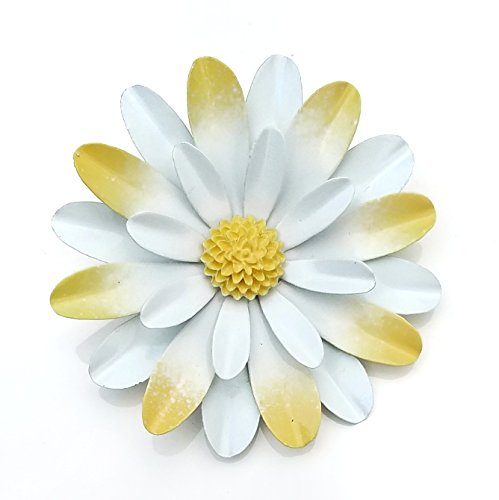 Large-White-and-Yellow-Metal-Enamel-Flower-Brooch-Daisy-0