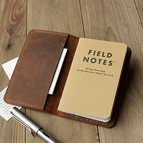 Leather Journal Cover For Moleskine Cahier Notebook Pocket