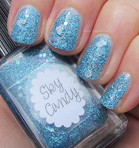 Lynnderella Blue Holographic Micro Glitter Nail Polish—Sky
