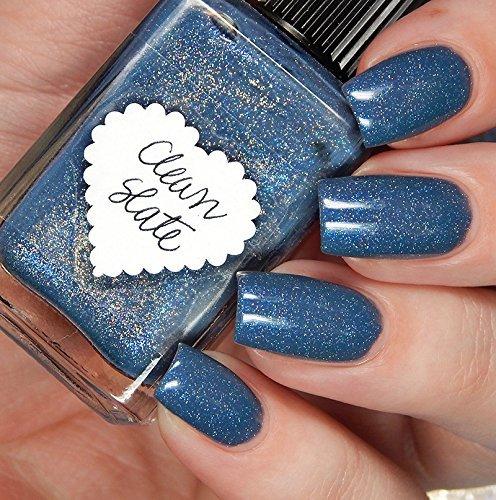 Lynnderella Limited Edition Blue Grey Holographic Shimmerella Nail Polish Clean Slate Handmade