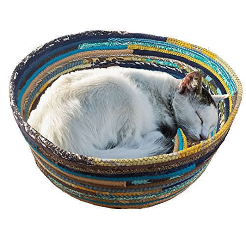 M2O-Pet-Basket-Pet-Bed-Dog-Bed-Cat-Bed-Multicolor-Jeweled-Extra-Large-Fabric-Bowl-Made-to-Order-You-CHOOSE-Colors-Upcycled-0