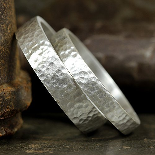 Matching-Wedding-Bands-Set-925-Sterling-Silver-Hammered-Texture-Flat-Pipe-Cut-His-and-Hers-Thick-Hand-Forged-Wedding-Rings-FREE-Custom-Engraving-0