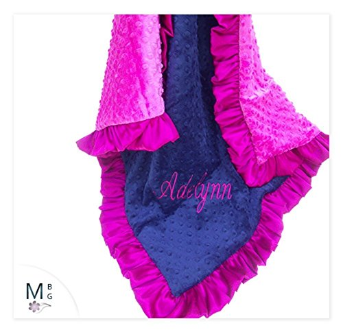 Minky-baby-Blanket-Navy-and-Fuchsia-Pink-Minky-Dot-baby-Blanket-Can-be-Personalized-0