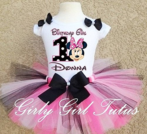 Baby Girl 1st Birthday Outfit.Minnie Mouse 1st Birthday Baby Girl Birthday Outfit Tutu