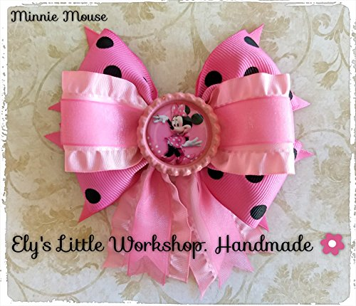 Minnie-Mouse-Disney-Inspired-Hair-Bow-Unique-design-French-barrette-2-100-Handmade-Pink-for-girls-Grosgrain-and-Satin-0