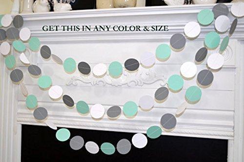 Mint Green Gray White Paper Circle Garland Wedding