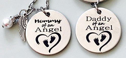 Mommy-and-Daddy-of-an-Angel-Engraved-Memorial-Necklace-with-Simulated-Pearl-and-Keychain-set-by-Dots-of-Sugar-0