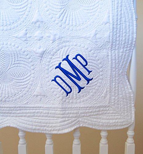 Monogram-Baby-Quilt-36-x-46-White-Blanket-Cotton-0