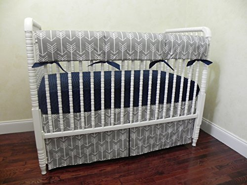 Nursery-Bedding-Bumperless-Baby-Crib-Bedding-Set-Baby-Boy-Bedding-Teething-Rail-Guard-Cover-Tribal-Baby-Bedding-Gray-Arrows-with-Navy-Choose-Your-Pieces-0