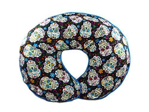 Nursing-Pillow-Cover-Sugar-Skulls-and-Flowers-for-Baby-Boy-or-Girl-0