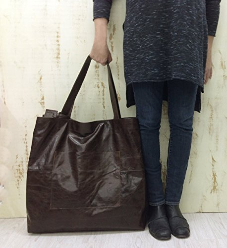 Oversized Leather Tote Bag Extra Large Duffel Travel Brown