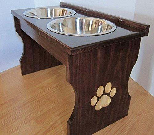 Paw-Print-Carved-Leg-Elevated-Food-Dish-Holder-Medium-0