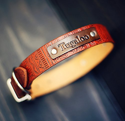 Personalized-Leather-Dog-Collar-Custom-Leather-Dog-Collar-Handmade-personalized-gift-Tan-Stain-Aztec-tribal-pattern-Name-number-personalization-0