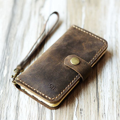 Personalized-Leather-iPhone-x-8-8-Plus-6-6s-6-plus-6s-Plus-7-7-plus-wallet-case-iPhone-5-5s-SE-wallet-Case-Italian-distressed-oiled-leather-Rustic-Brown-0