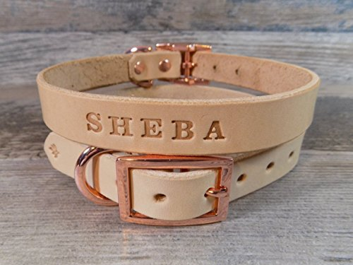 Personalized-Rose-Gold-Copper-Off-White-Leather-Dog-Collar-with-FREE-Name-Pick-Your-Font-0