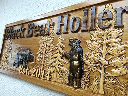 Personalized-Wood-Sign-Custom-Carved-Cabin-Gift-Man-Cave-Wedding-Family-Last-Name-Camp-Lake-House-Dcor-Woods-Black-Bear-Plaque-Last-Name-Established-Sign-Custom-Wood-Sign-3D-Camper-Sign-0