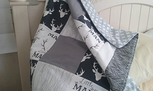Personalized-Woodland-Antlers-and-Deer-Little-Man-Cotton-Patchwork-Baby-BlanketDeer-Buck-Stag-Grey-Navy-White-with-double-borders-in-white-and-grey-feathervane-with-grey-organic-backing-0