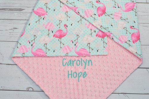Personalized-baby-blanket-Personalized-minky-baby-blanket-Minky-baby-blanket-pink-Flamingo-Personalized-Pink-Flamingo-minky-baby-blanket-Flamingo-baby-girl-blanket-0
