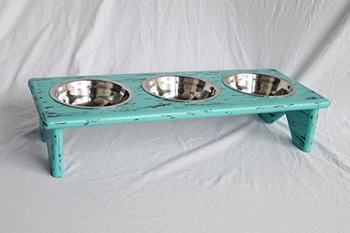 Pet-Bowl-Stand-Wooden-3-equal-bowls--Serve-kibble-wet-food-and-water-0
