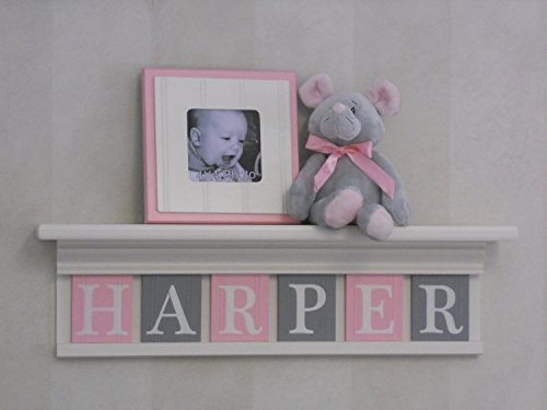 Pink-and-Gray-Baby-Girl-Nursery-Shelf-Custom-Nursery-Decor-Shelves-Handmade-Shelf-Painted-in-White-Baby-Name-Tiles-in-Light-Pink-and-Gray-0