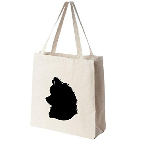 Pomeranian-Dog-Silhouette-Portrait-Design-Extra-Large-Reusable-Cotton-Canvas-Grocery-Shopping-Tote-Bag-0