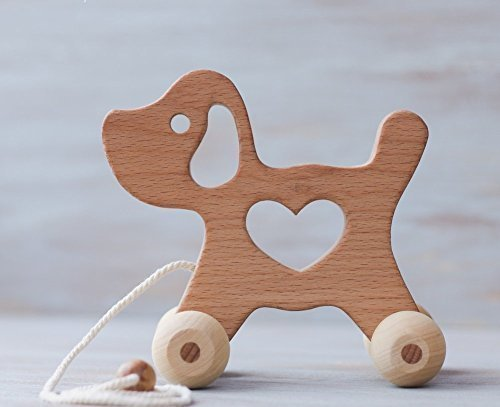 Pull Along Toy – Wooden doggy Baby Toy – Montessori Inspired Wood ...
