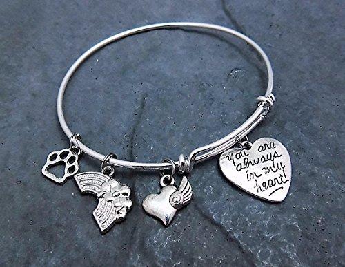 Rainbow-Bridge-Charm-Bracelet-Choice-of-Expandable-Bangle-Personalized-Engraving-Pet-Memorial-Gift-0