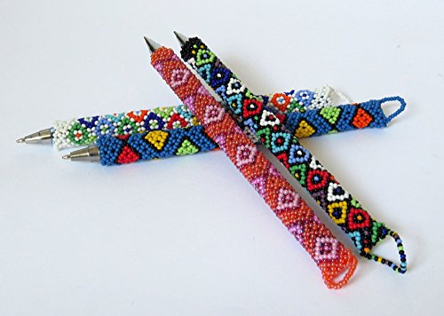 SPECIAL-OFFER-African-Zulu-beaded-Pen-gift-from-Africa--Set-of-5-pens-0