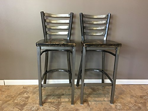 Set Of 2 Reclaimed Wood Seat Bar Stool With Ladder Back
