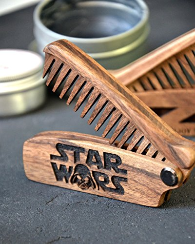 Star-Wars-Beard-comb-wood-moustache-comb-Anti-Static-Wooden-Folding-Comb-for-Men-with-Sugar-skull-Great-with-beard-Balm-and-beard-oil-Christmas-gift-Grooming-kit-Pocket-size-Gift-for-men-0