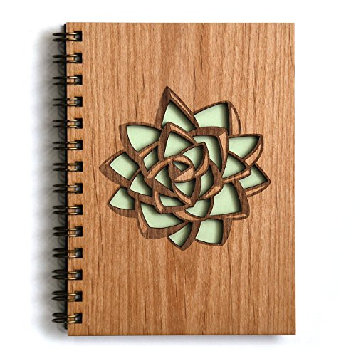 Succulent-Laser-Cut-Wood-Journal-Notebook-Birthday-Gift-Gratitude-Journal-Handmade-0