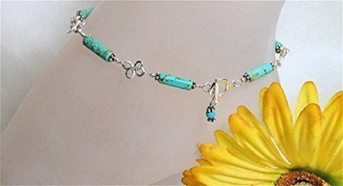 Turquoise-and-Clovers-Sterling-Silver-Anklet-0