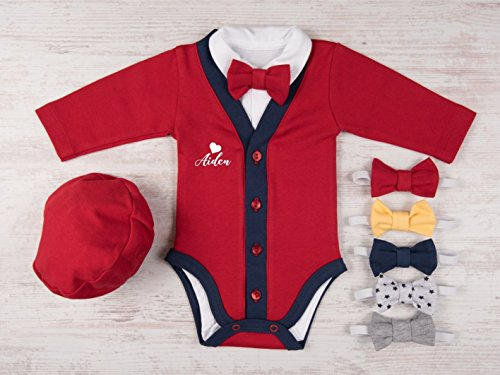 Valentines-Day-Baby-Boy-Outfit-Heart-Personalized-Red-Cardigan-Bodysuit-Hat-and-Bow-Tie-Set-0