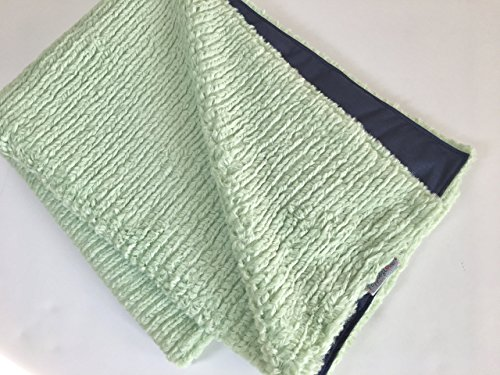 Waterproof-Pet-Blanket-Super-Thick-and-Soft-Chenille-Minky-Mint-Green-and-Navy-0