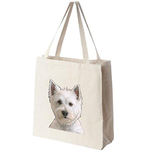 Westie-Dog-Portrait-Color-Design-Extra-Large-Eco-Friendly-Reusable-Cotton-Canvas-Grocery-Shopping-Tote-Bag-0