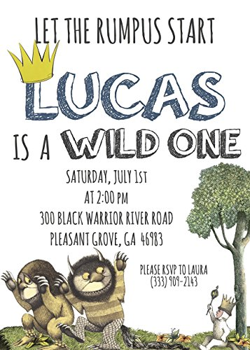 Where The Wild Things Are First Birthday Party Invitation All Ages