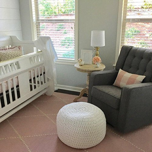 Surprising White Knit Round Ottoman Nursery Foot Rest Kids Pouf Ottoman Machost Co Dining Chair Design Ideas Machostcouk