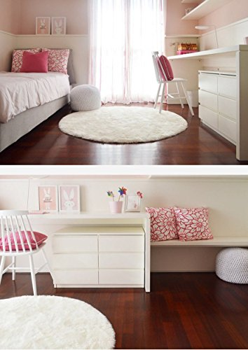 Pleasant White Knit Round Ottoman Nursery Foot Rest Kids Pouf Ottoman Machost Co Dining Chair Design Ideas Machostcouk