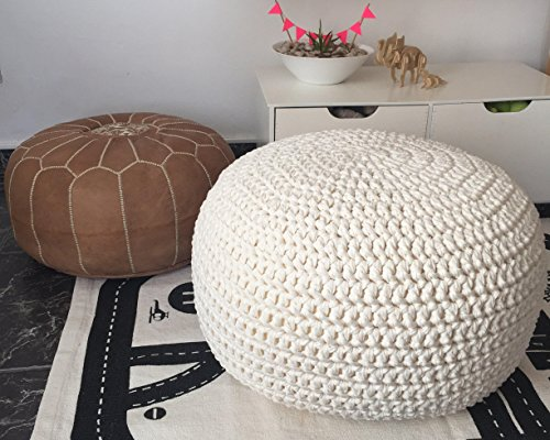 Swell White Knit Round Ottoman Nursery Foot Rest Kids Pouf Ottoman Lamtechconsult Wood Chair Design Ideas Lamtechconsultcom