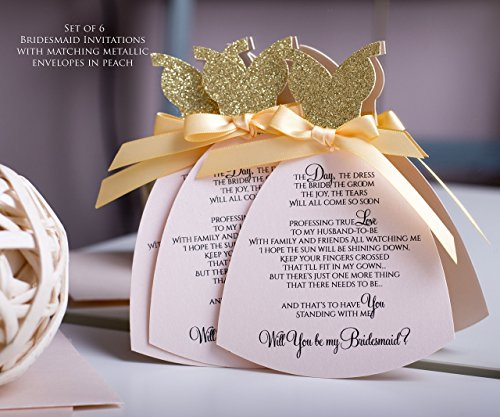 Will You Be My Bridesmaid Invitation Set Of 6 Luxury Will You Be My