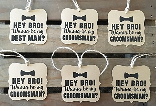 Will-you-be-my-Groomsman-Best-Man-Set-of-6-Square-Bracket-Shaped-Rustic-Modern-WEDDING-Bow-Tie-Personalize-Recycled-Eco-Friendly-0