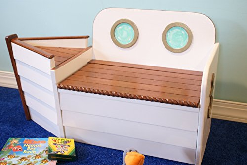 Kids Storage Bench Furniture Toy Box Bedroom Playroom: Wooden Boat Toy Chest Toy Box Ship Bench, Toy Organizer