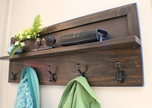You-Pick-the-Stain-and-Mesh-Color-5-Hook-Stained-Wall-Mounted-Coat-Rack-Wall-Organizer-and-Shelf-0