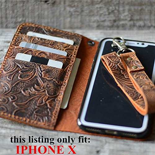handmade-Genuine-leather-wallet-case-FOR-iphone-X-58-inch-with-wristlet-old-brown-case-Italian-0