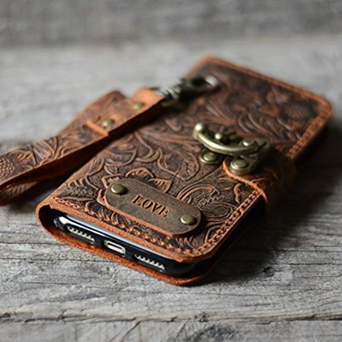 more photos cd0a2 a8f13 handmade Genuine leather wallet case for iphone X case for iphone 8 / 8  plus leather case for iphone 7 / 7 plus with wristlet (old brown) iphone 6  / ...
