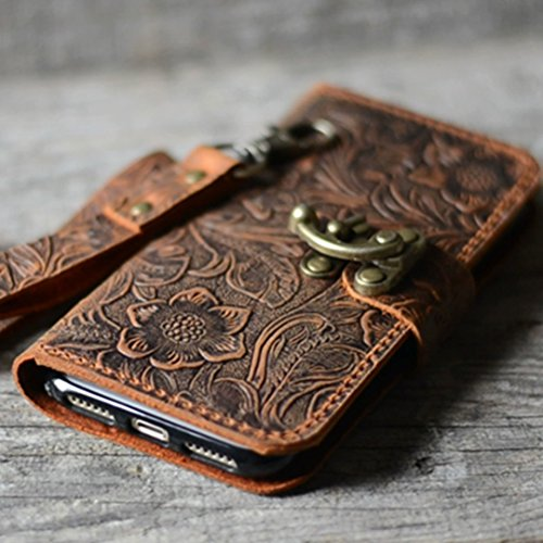more photos dea5f 1b855 handmade Genuine leather wallet case for iphone X case for iphone 8 / 8  plus leather case for iphone 7 / 7 plus with wristlet (old brown) iphone 6  / ...